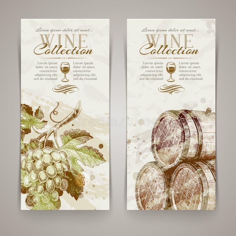 Insegne con l'uva ed i barili disegnati a mano illustrazione di stock