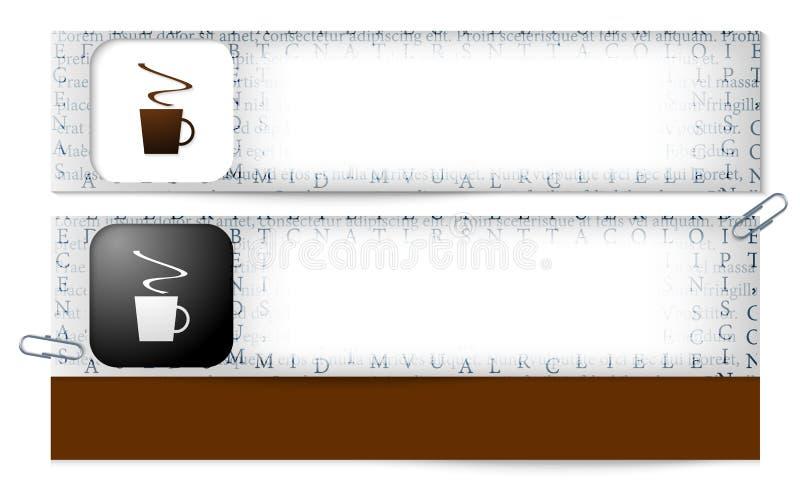 Insegne con la struttura delle lettere e della tazza del co royalty illustrazione gratis