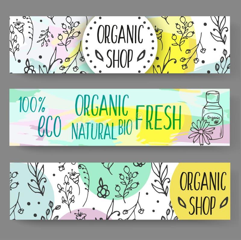 Insegne con le bottiglie cosmetiche Illustrazione organica dei cosmetici royalty illustrazione gratis