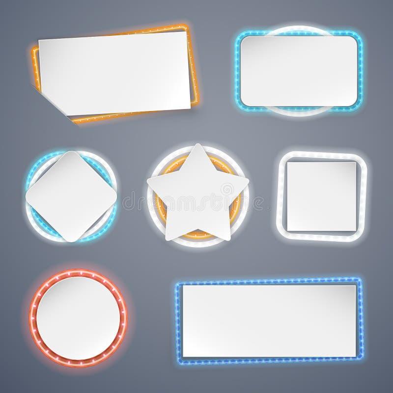 Insegne con le decorazioni delle luci al neon illustrazione di stock