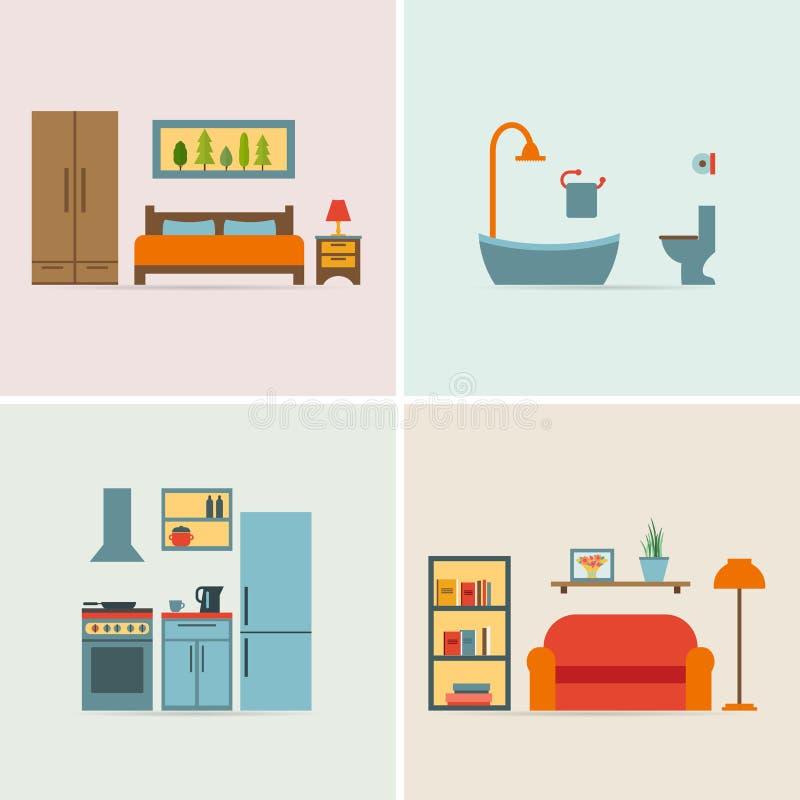 insegne con le icone della mobilia per le stanze della