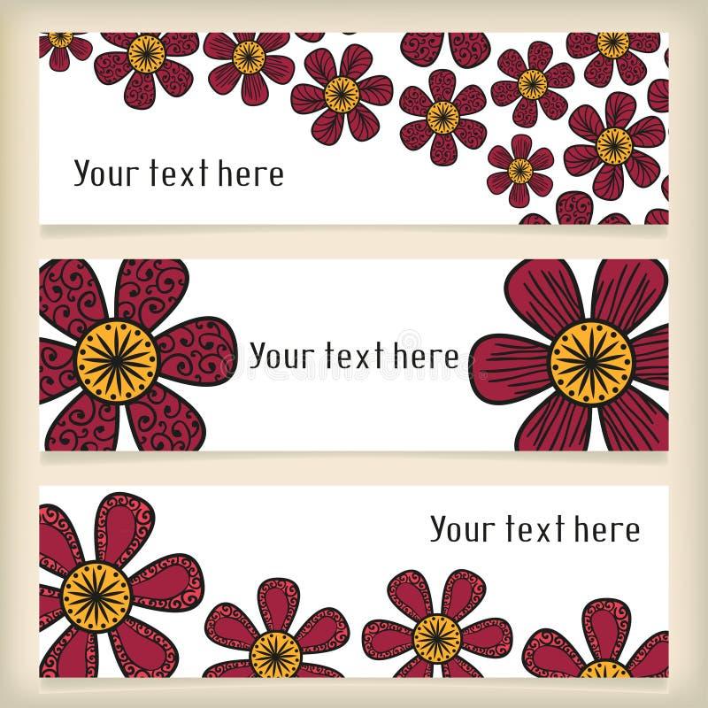 Insegne con scarabocchiare i fiori nello stile del tatuaggio illustrazione vettoriale