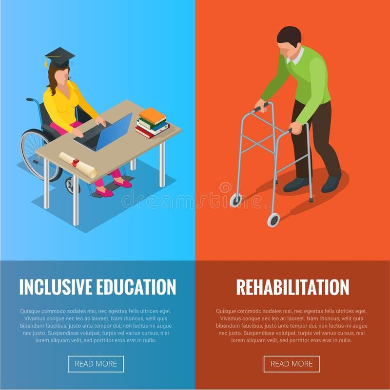 Insegne dei disabili con l'illustrazione piana di vettore di riabilitazione e della sedia a rotelle royalty illustrazione gratis