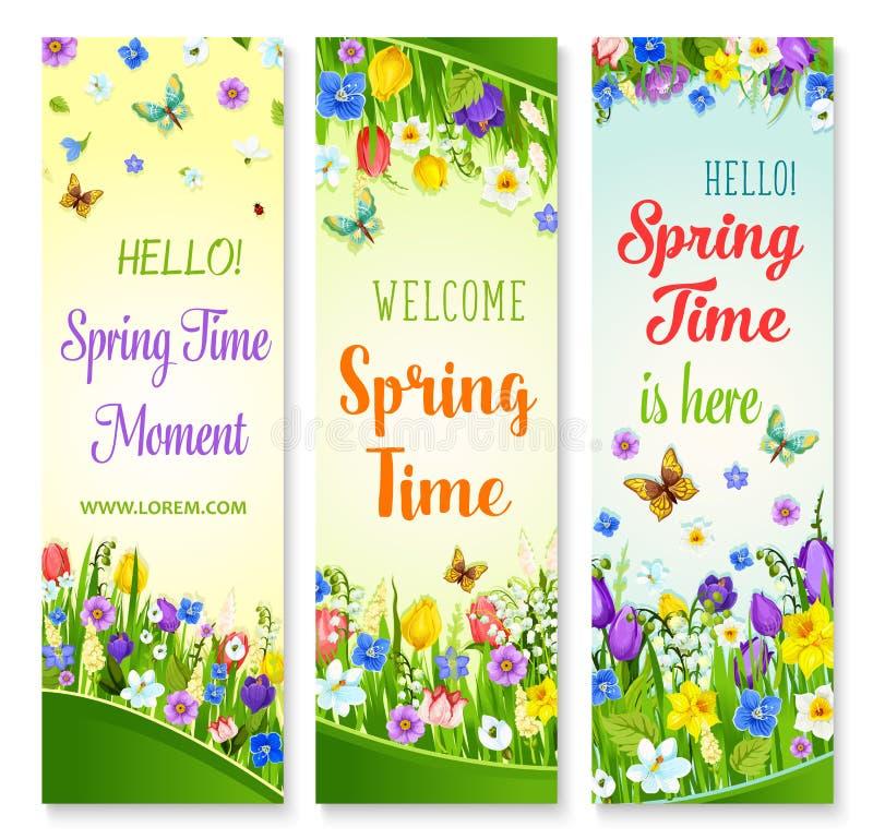 Insegne dei fiori della molla di vettore con le citazioni di saluto royalty illustrazione gratis