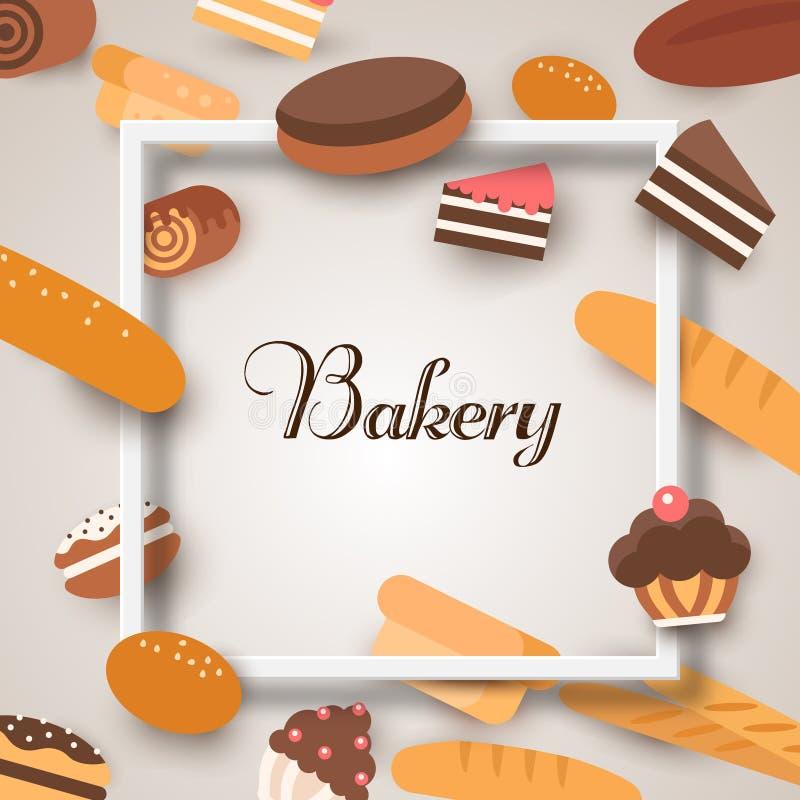 Insegne del forno Cuocere, pane e dolci Vettore piano illustrazione vettoriale