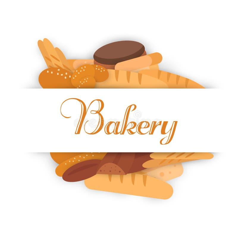 Insegne del forno Cuocere, pane e dolci Vettore piano royalty illustrazione gratis