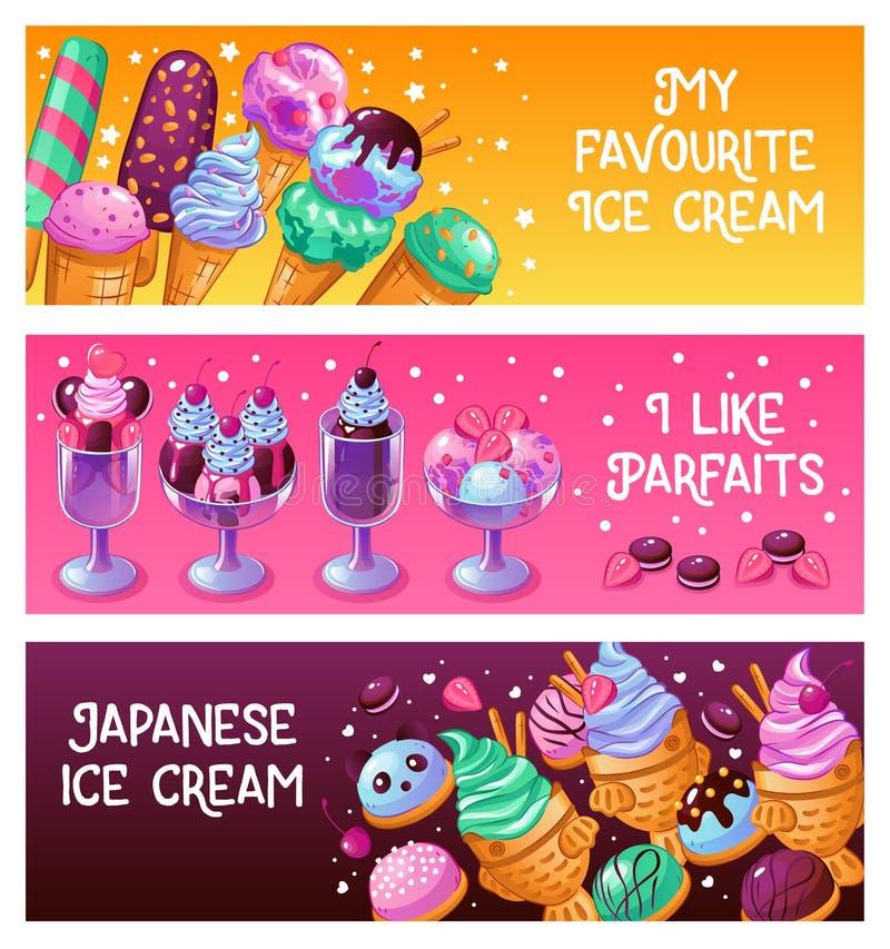 Insegne del gelato illustrazione di stock