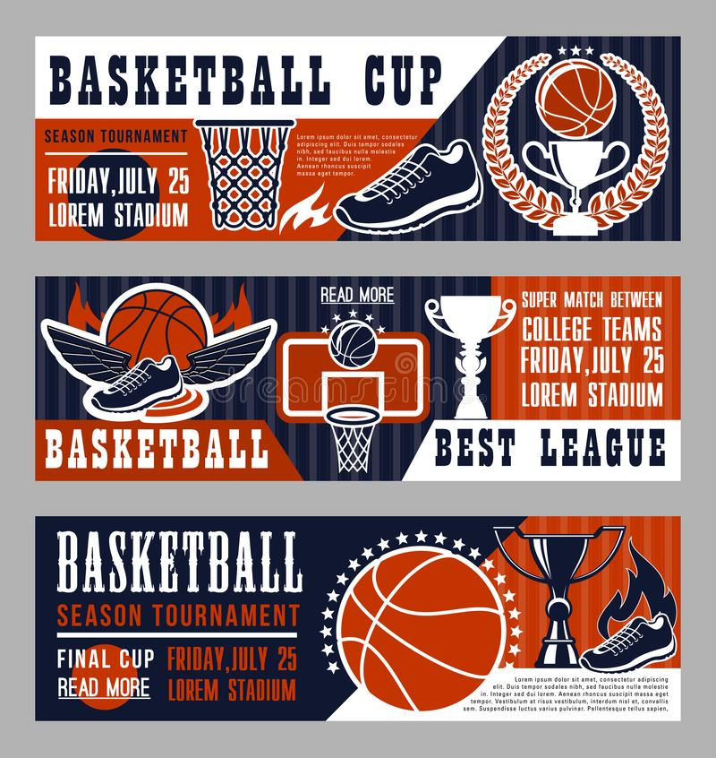 Insegne del gioco di sport di pallacanestro con il campo e la palla illustrazione di stock