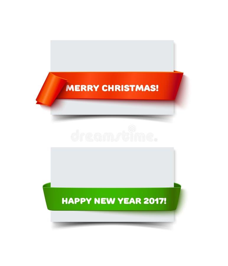Insegne del rotolo della carta di Buon Natale con ombra realistica illustrazione vettoriale