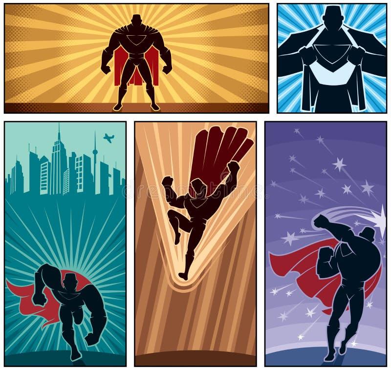 Insegne 2 del supereroe royalty illustrazione gratis