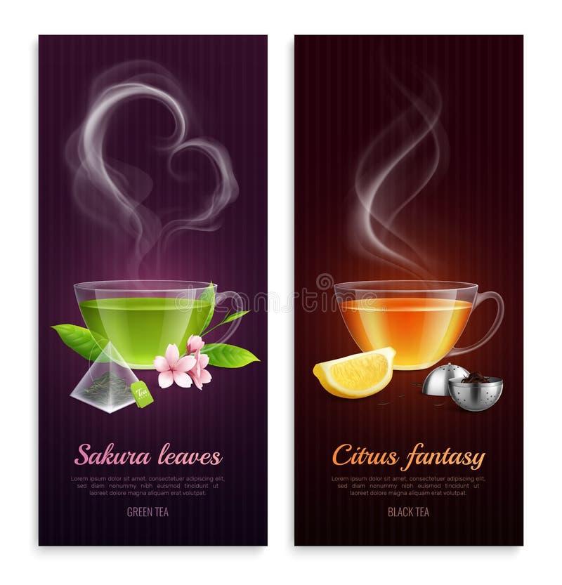 Insegne del tè verde e nero royalty illustrazione gratis