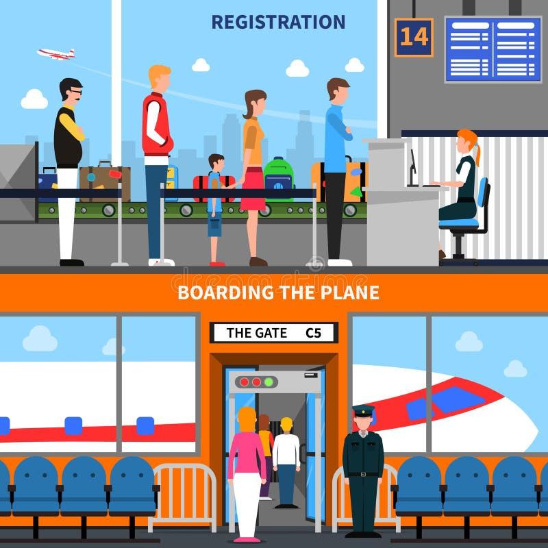 Insegne dell'aeroporto messe illustrazione vettoriale
