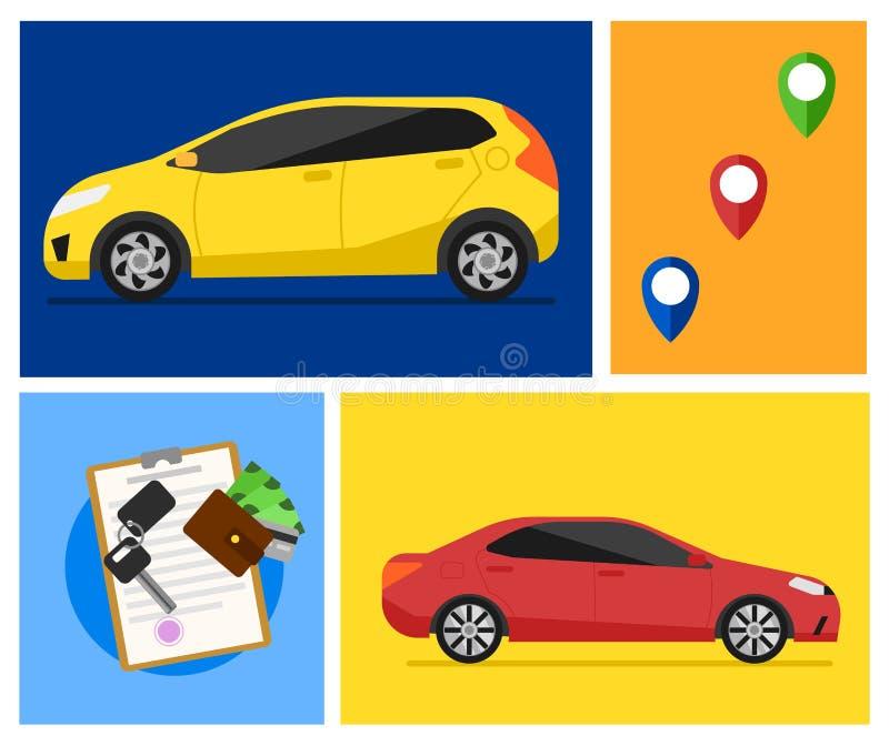 Insegne dell'automobile locativa illustrazione di stock