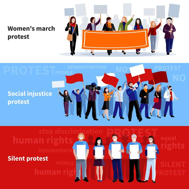 Insegne della gente di protesta di dimostrazione illustrazione di stock