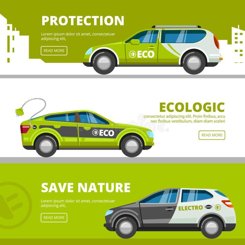Insegne delle automobili di Eco I veicoli elettrici di energia alternativa di potere con il trasporto di eco di vettore della bat illustrazione di stock