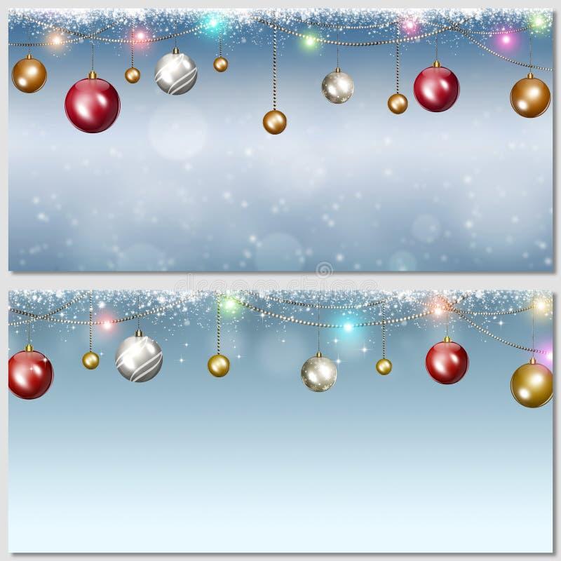 Insegne delle palle di Natale di festa illustrazione di stock