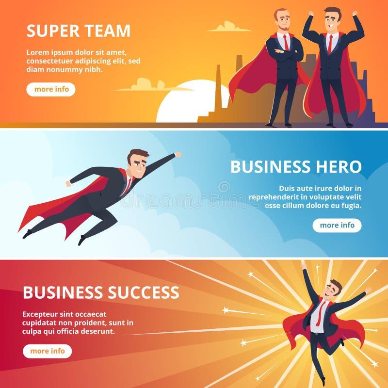 Insegne di affari dei supereroi Illustrazioni di vettore di concetto di affari di caratteri maschii illustrazione di stock