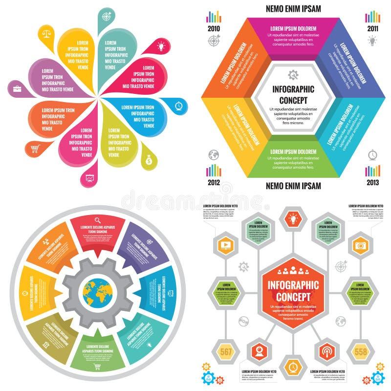 Insegne di concetto di affari del modello degli elementi di Infographic per la presentazione, l'opuscolo, il sito Web e l'altro p illustrazione vettoriale