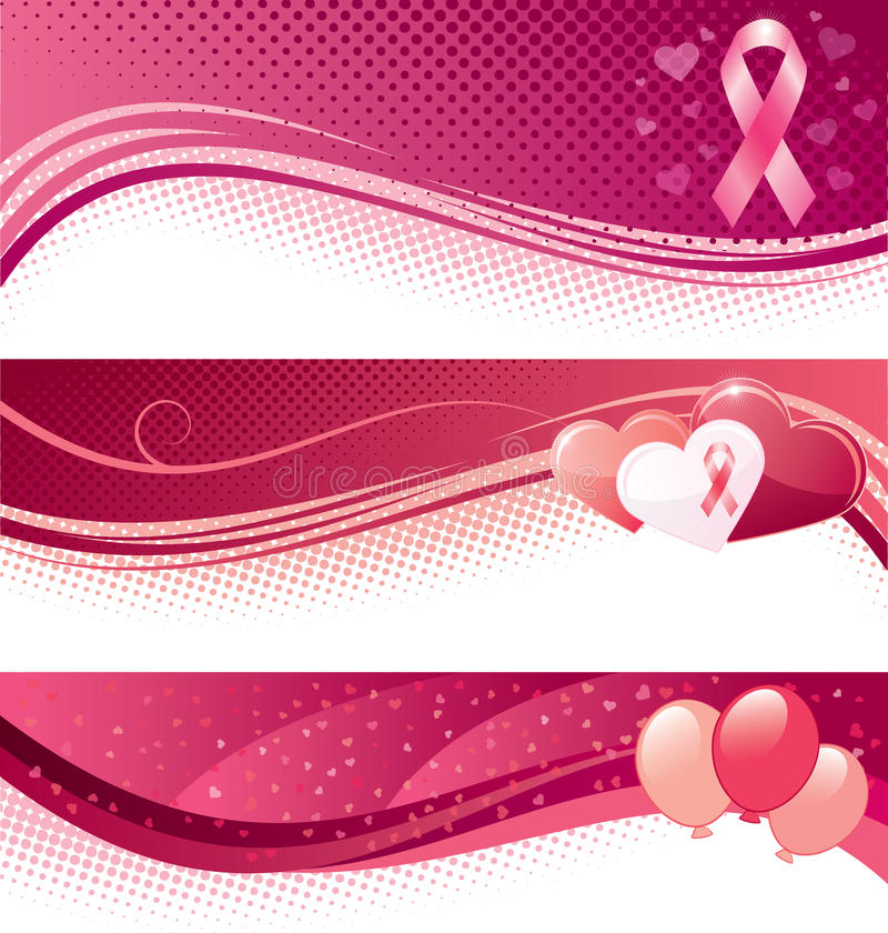 Insegne di consapevolezza del cancro al seno illustrazione vettoriale