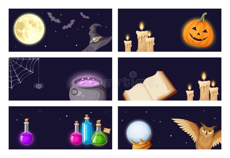 Insegne di Halloween con i simboli magici Vettore EPS-10 illustrazione di stock