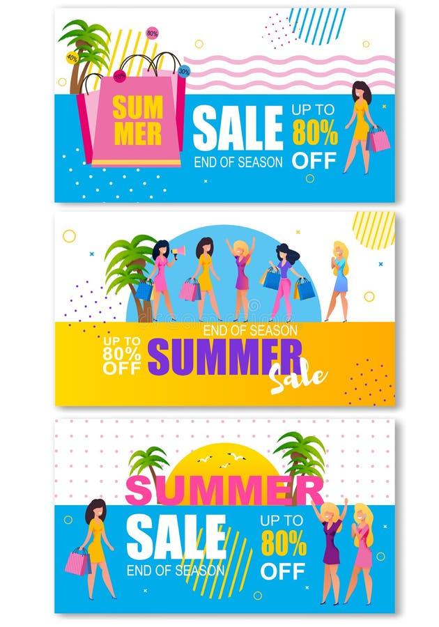 Insegne di intestazione di vendite di estate messe per acquisto della donna illustrazione di stock