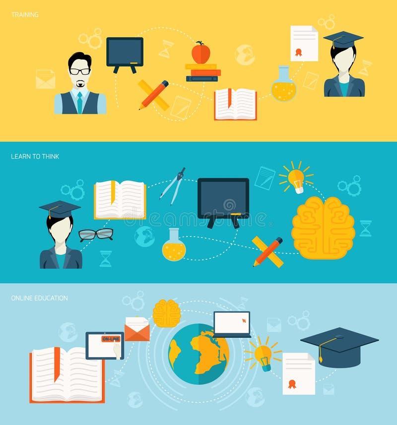 Insegne di istruzione messe illustrazione di stock