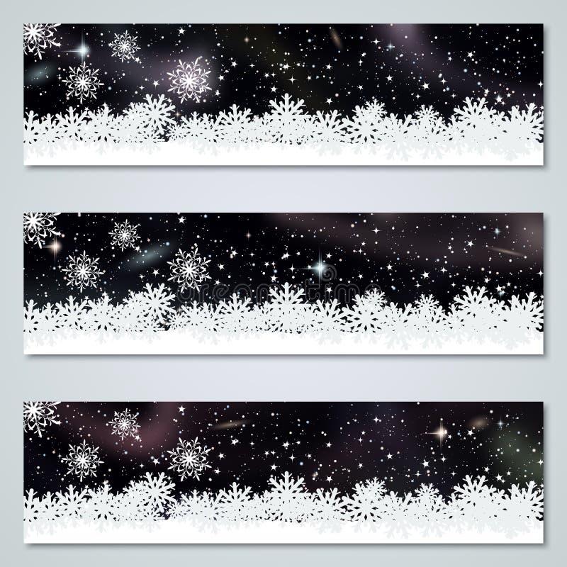 Insegne di lusso di vettore del cielo del nero del nuovo anno e di Natale illustrazione di stock