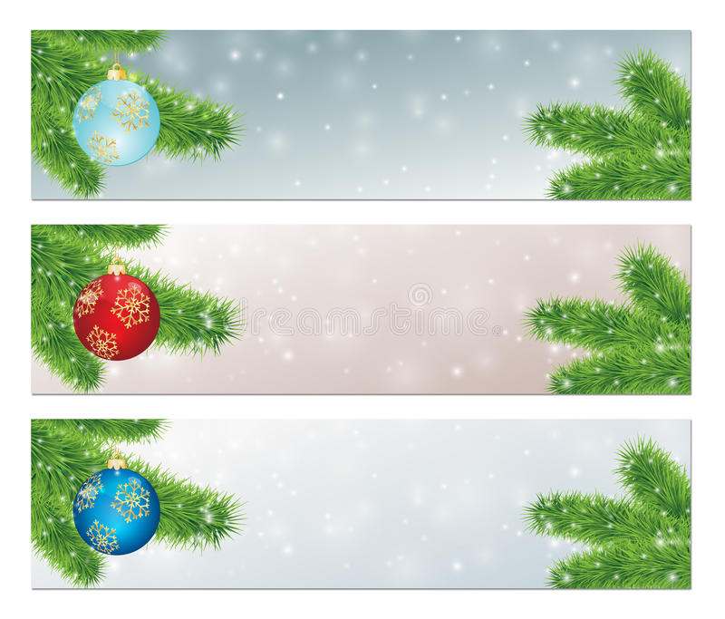 Insegne di Natale con le palle decorate illustrazione di stock