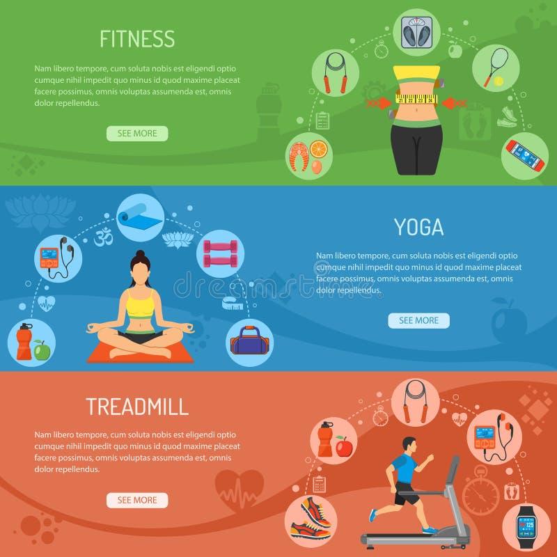 Insegne di orizzontale di forma fisica e di yoga illustrazione vettoriale