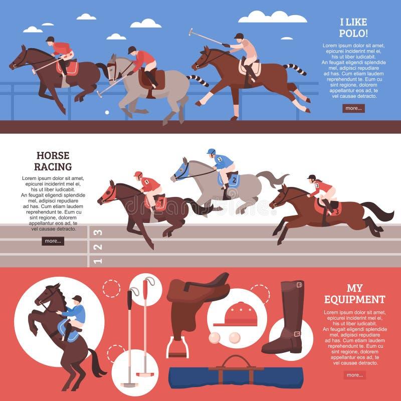 Insegne di orizzontale di sport equestre illustrazione vettoriale