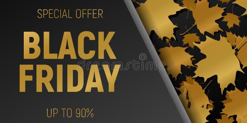 Insegne di orizzontale di web di vendita di Black Friday Foglie di acero di volo dell'oro Priorità bassa nera Illustrazione di ve illustrazione di stock