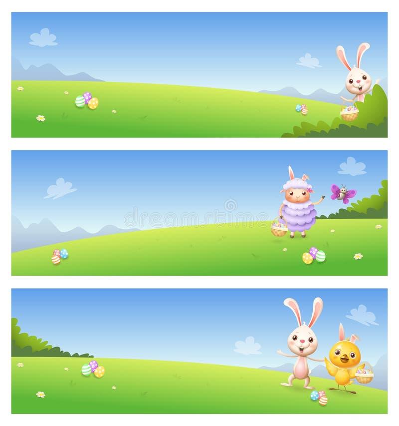 Insegne di Pasqua con la farfalla sveglia dell'agnello del pollo del coniglietto degli animali sul fondo dei paesaggi della molla illustrazione vettoriale