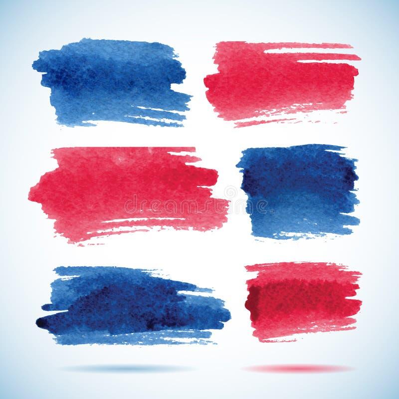 Insegne di pennellata Acquerello rosso e blu dell'inchiostro illustrazione vettoriale