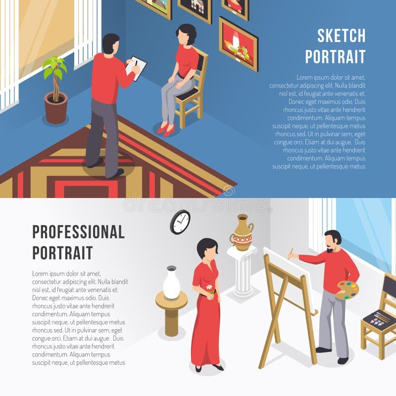 Insegne di And Portrait Isometric dell'artista royalty illustrazione gratis