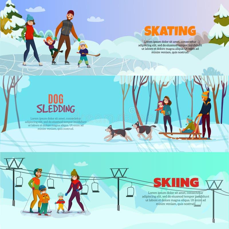 Insegne di ricreazione di inverno messe illustrazione vettoriale