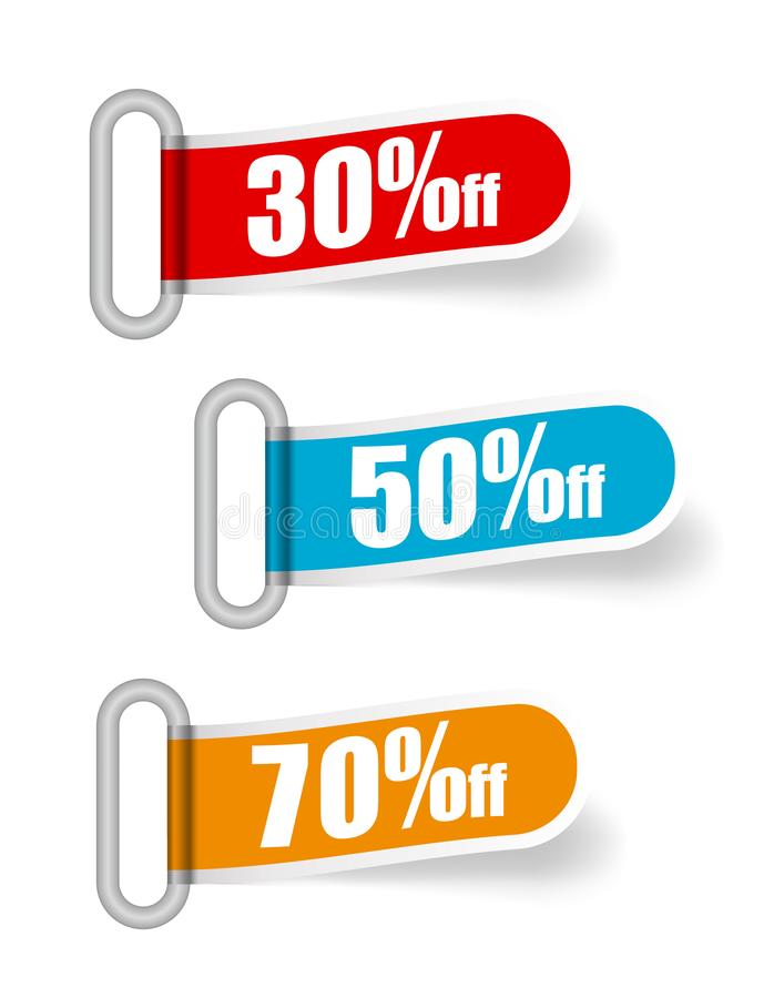 Insegne di vendita della raccolta di vettore, etichette, etichette, carte Stile moderno piano Insegne rosse, blu, arancio di offe illustrazione di stock