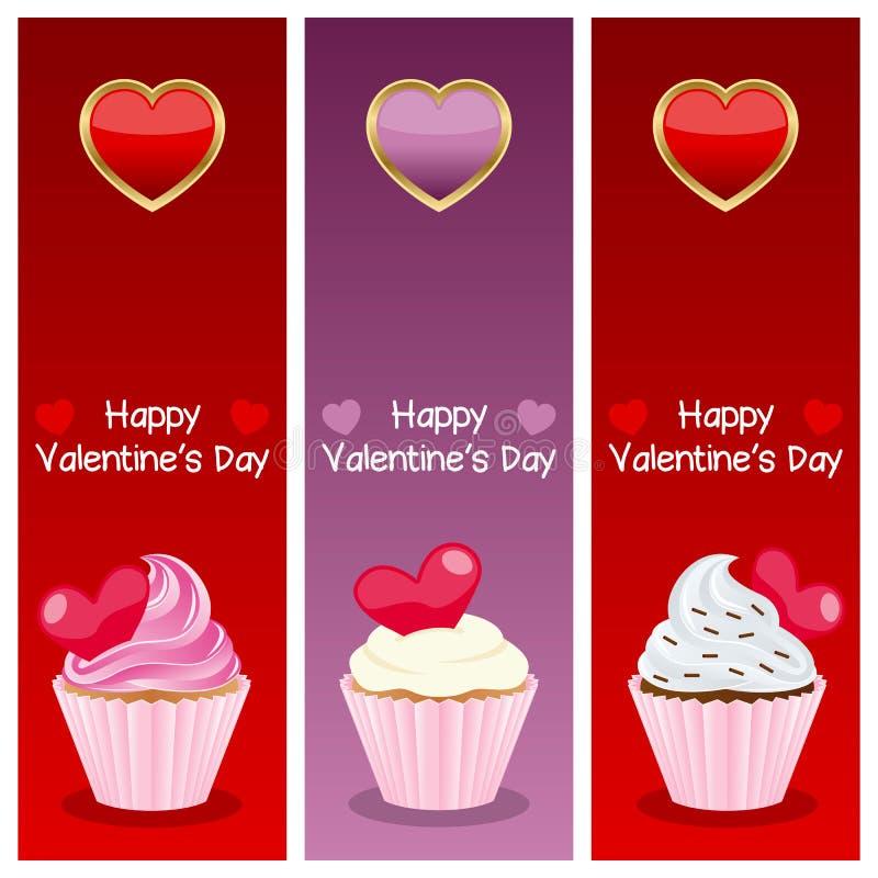 Insegne di verticale di giorno del biglietto di S. Valentino s illustrazione di stock