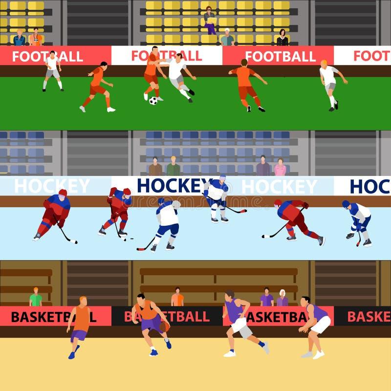 Insegne di vettore di concetto di sport Gli sportivi giocano a calcio, hockey su ghiaccio e pallacanestro I giocatori profilano s illustrazione vettoriale