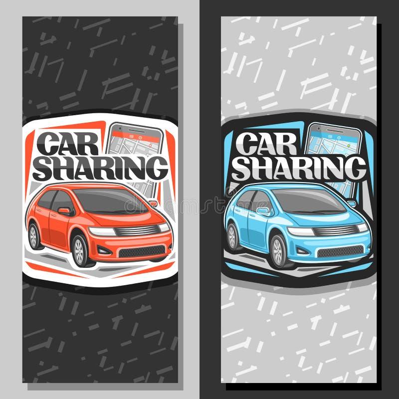 Insegne di vettore per il car sharing illustrazione di stock