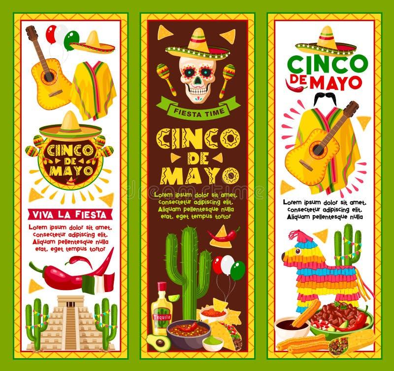 Insegne di vettore per la festa di Cinco de Mayo Mexican royalty illustrazione gratis