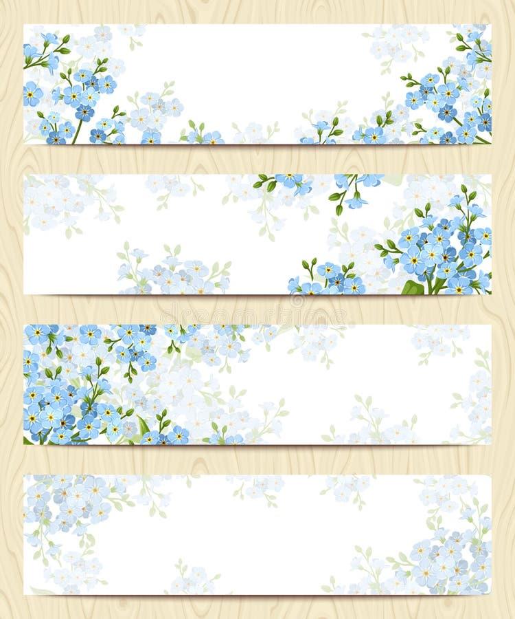 Insegne di web con i fiori blu del nontiscordardime Vettore EPS-10 illustrazione vettoriale