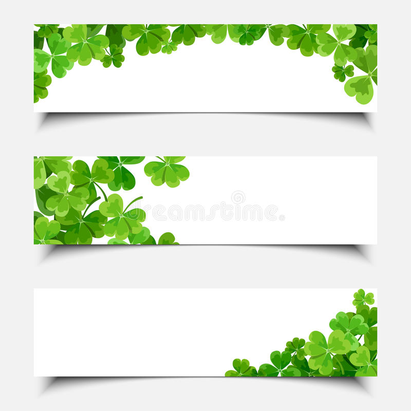Insegne di web del giorno di St Patrick con l'acetosella Vettore EPS-10 illustrazione vettoriale
