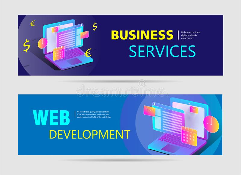 Insegne di web di sviluppo Web con testo e l'illustrazione luminosa royalty illustrazione gratis