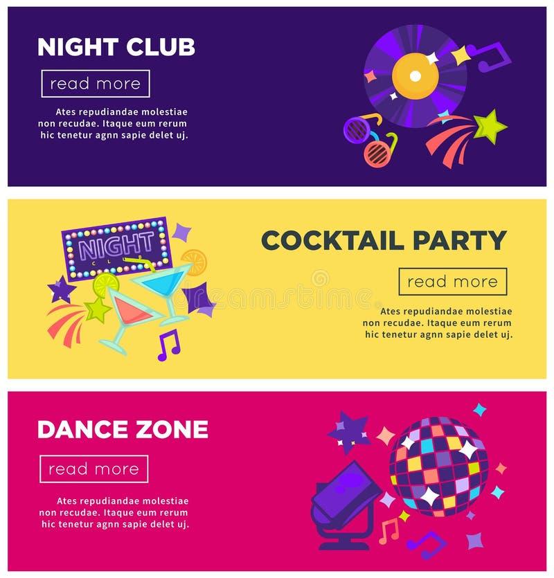 Insegne di web di vettore del partito del night-club royalty illustrazione gratis