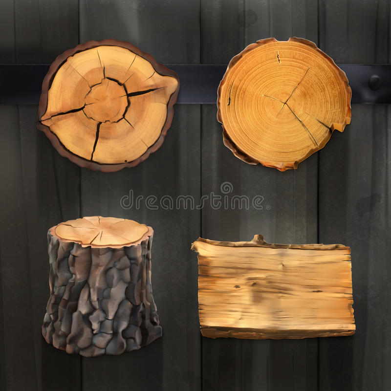 Insegne e segni di legno illustrazione vettoriale