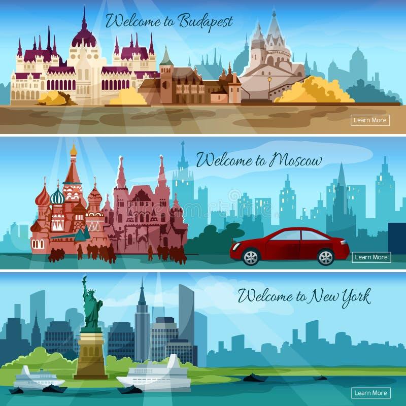 Insegne famose delle città illustrazione vettoriale