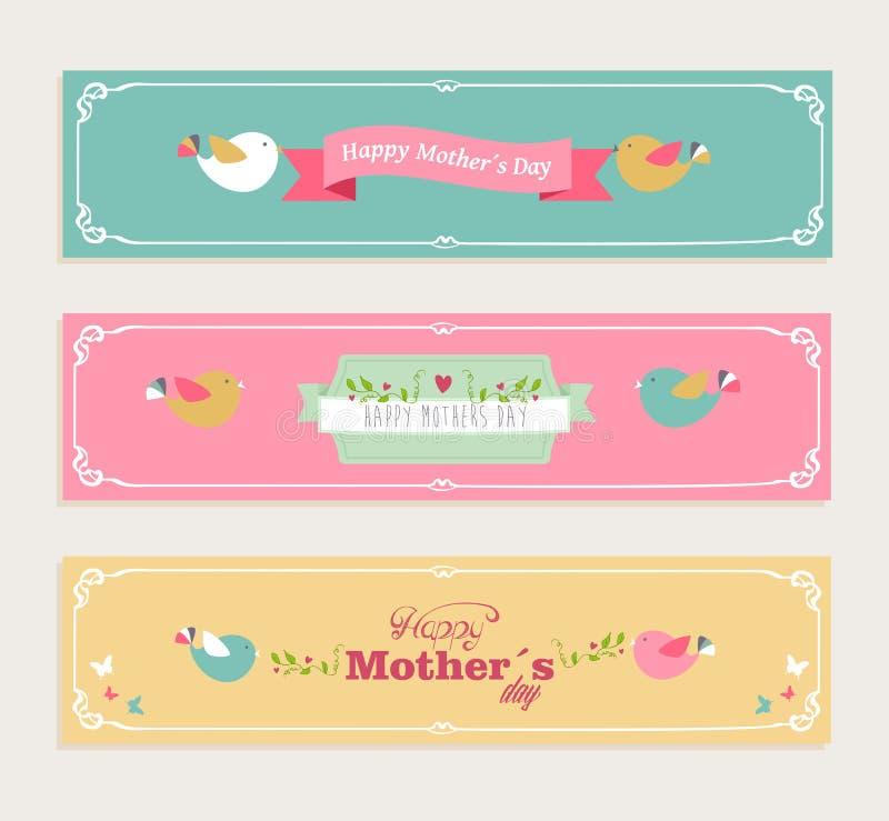 Insegne felici d'annata di giorno di madri messe illustrazione di stock