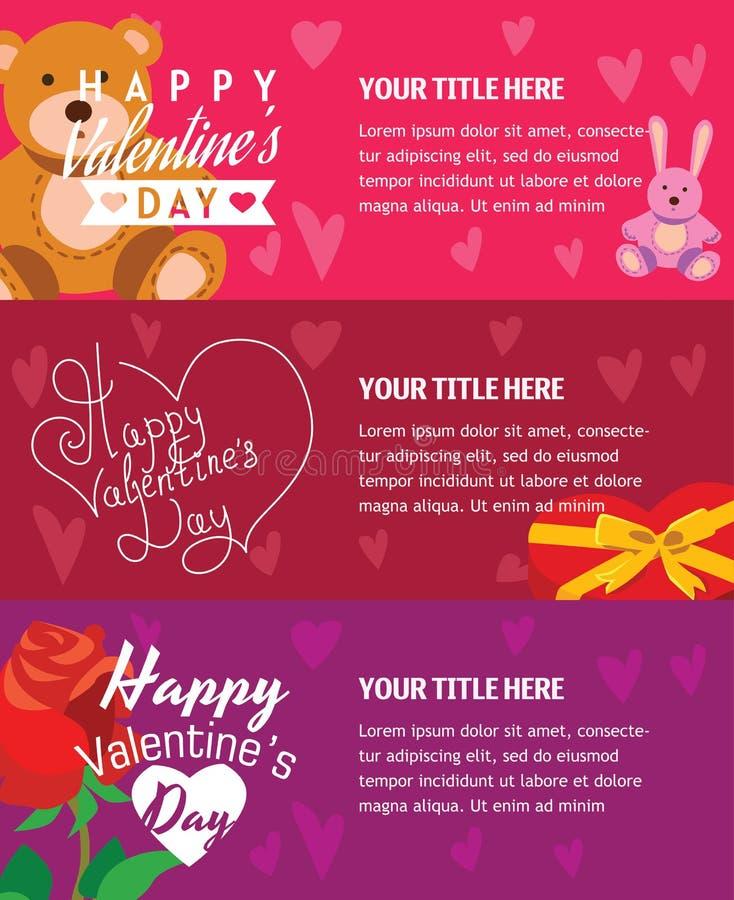 Insegne felici di giorno di biglietti di S. Valentino con l'orsacchiotto illustrazione vettoriale