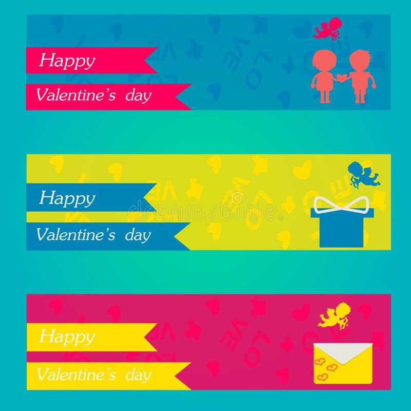 Insegne felici di giorno e di sarchiatura di biglietti di S. Valentino Cartoline d'auguri illustrazione di stock