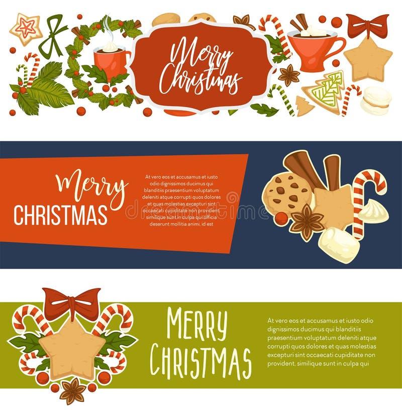 Insegne felici di vacanza invernale di Buon Natale con testo illustrazione di stock